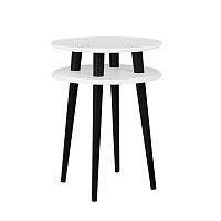Bílý příruční stolek s černými nohami Ragaba UFO, Ø45cm