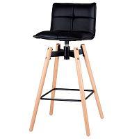 Černá barová židle s nohama z bukového dřeva sømcasa Janie