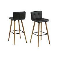 Černá barová židle s podnožím z dubového dřeva Actona Frida