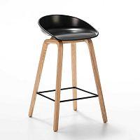 Černá barová židle z jasanového dřeva Thai Natura