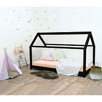 Černá dětská postel bez bočnic ze smrkového dřeva Benlemi Tery, 90 x 190 cm