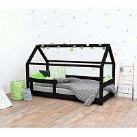 Černá dětská postel s bočnicemi ze smrkového dřeva Benlemi Tery, 70 x 160 cm