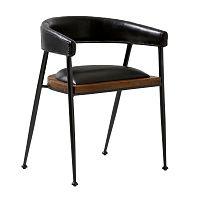Černá kožená jídelní židle Fuhrhome London