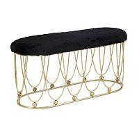 Černá pokstrovaná lavice s železnou konstrukcí ve zlaté barvě Mauro Ferretti Amelia