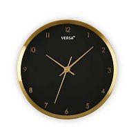 Černé hodiny s rámem ve zlaté barvě Versa Runna, ⌀ 25,8 cm