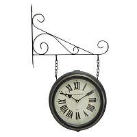 Černé nástěnné kovové hodiny Mauro Ferretti