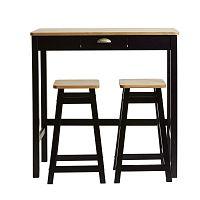 Černý barový stolek se 2 stoličkami z masivního borovicového dřeva Marckeric Caya