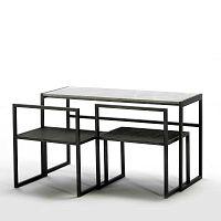 Černý jídelní stůl s mramorovou deskou a 2 židlemi Thai Natura