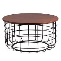 Černý odkládací stolek s deskou v dekoru ořechového dřeva sømcasa Celso