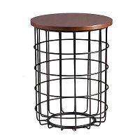 Černý odkládací stolek s deskou v dekoru ořechového dřeva sømcasa Elmo