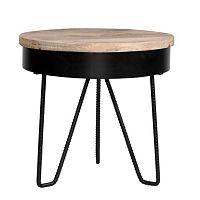 Černý příruční stolek s dřevěnou deskou LABEL51 Saran