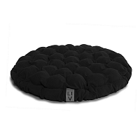 Černý sedací polštářek s masážními míčky Lindy Vrňáková Bloom, Ø65cm