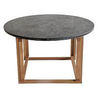 Černý žulový konferenční stolek s podnožím z dubového dřeva RGE Accent, ⌀85cm