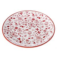 Červeno-bílý talíř Unimasa Meadow