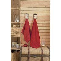 Červený ručník s ozdobným lemem Apolena, 70 x 140 cm