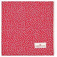 Červený tečkovaný bavlněný ubrousek s krajkou Green Gate Dot, 40 x 40 cm
