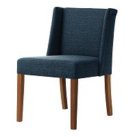 Denimově modrá židle s tmavě hnědými nohami Ted Lapidus Maison Zeste