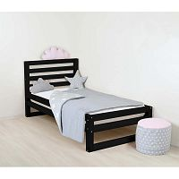 Dětská černá dřevěná jednolůžková postel Benlemi DeLuxe, 160x80cm