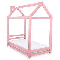 Dětská růžová postel z smrkového dřeva Benlemi Happy,90x180cm