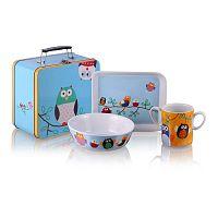 Dětský snídaňový set v kufříku Silly Design Owls