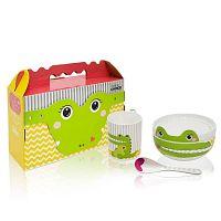 Dětský snídaňový set z kostního porcelánu Silly Design Happy Crocodile