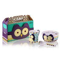 Dětský snídaňový set z kostního porcelánu Silly Design Owl