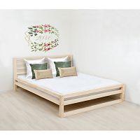 Dřevěná dvoulůžková postel Benlemi DeLuxe Naturelle, 200x180cm