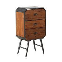 Dřevěný noční stolek s kovovými nohami a 3 zásuvkami Geese Duke