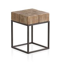 Dřevěný odkládací stolek s kovovými nohami Geese Robust, 33 x 33 cm