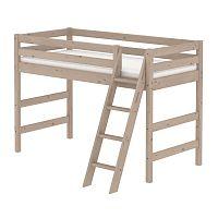 Hnědá dětská středně vysoká postel se žebříkem z borovicového dřeva Flexa Classic, 90x200cm