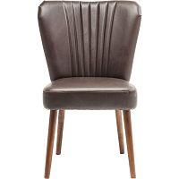 Hnědá kožená židle s konstrukcí z březového dřeva Kare Design Filou