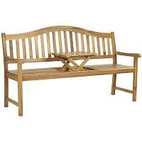Hnědá zahradní lavice z akáciového dřeva s výklopným stolkem Safavieh Bailey