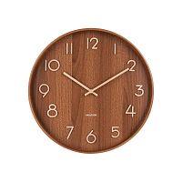 Hnědé nástěnné hodiny z lipového dřeva Karlsson Pure Large, ø 60cm