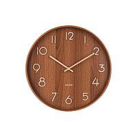 Hnědé nástěnné hodiny z lipového dřeva Karlsson Pure Medium, ø 40cm