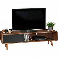 Hnědo-černá TV komoda z masivního sheeshamového dřeva Skyport REPA, výška 40 cm