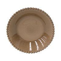 Hnědý kameninový talíř na polévku Costa Nova Pearl, ⌀24cm