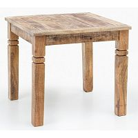 Jídelní stůl z masivního mangového dřeva Skyport RUSTICA, 80 x 80 cm