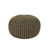 Khaki zelený pletený puf LABEL51 Knitted, Ø50cm