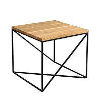 Konferenční stolek s černou konstrukcí a deskou v dekoru dubového dřeva Custom Form Memo, délka50cm