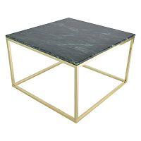 Konferenční stolek s podnožím ve zlaté barvě a zelenou mramorovou deskou RGE Accent