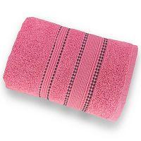 Korálově růžový ručník ze 100% bavlny Marie Lou Remix, 140 x 70 cm