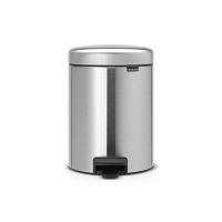 Matný pedálový odpadkový koš ve stříbrné barvě Brabantia Newicon, 5l