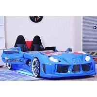 Modrá dětská postel ve tvaru auta s LED světly Racero, 90 x 190 cm