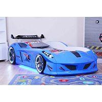 Modrá dětská postel ve tvaru auta s LED světly Speedy, 90 x 190 cm