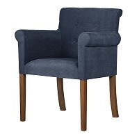 Modrá židle s tmavě hnědými nohami Ted Lapidus Maison Flacon