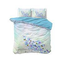 Modré bavlněné povlečení na dvoulůžko Sleeptime Sweet Flowers, 200 x 220 cm