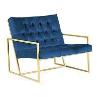 Modré křeslo s konstrukcí ve zlaté barvě Paolo Bellutti Maurizio