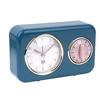 Modré kuchyňské hodiny s minutkou PT LIVING Nostalgia