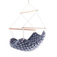 Modrošedé  interiérové houpací křeslo Linda Vrňáková Swingy In