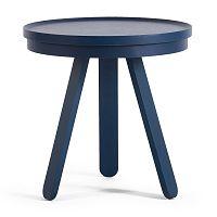 Modrý odkládací stolek z jasanového dřeva s podnosem Woodendot Batea S